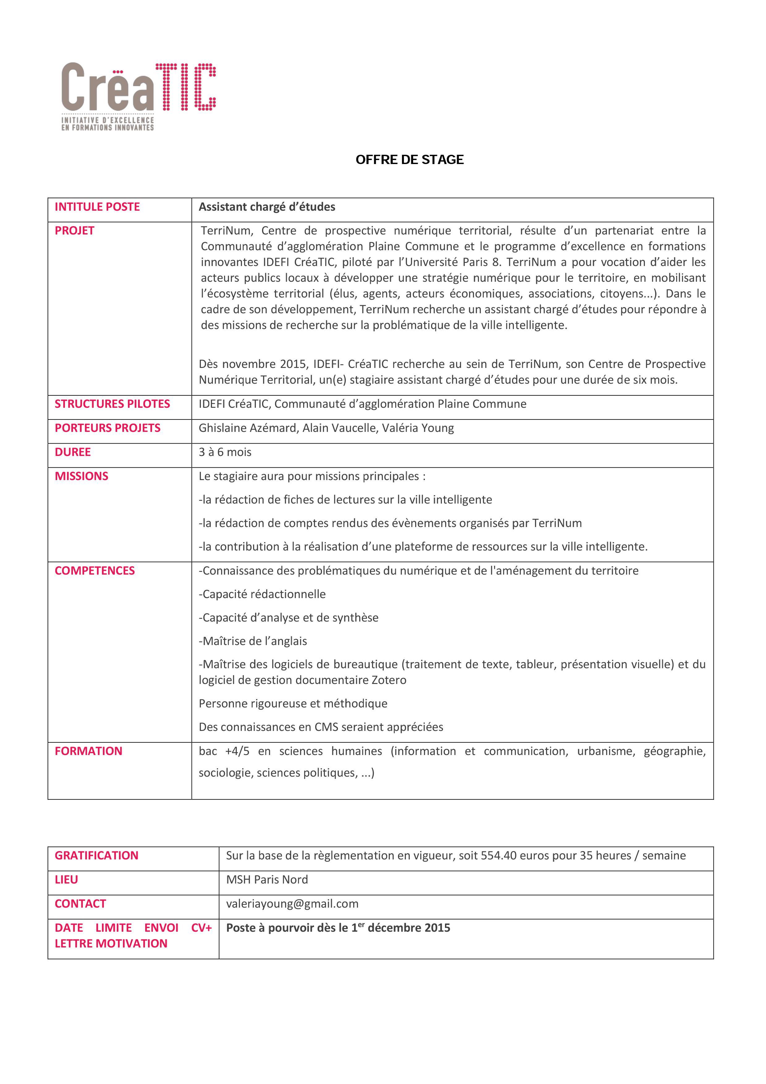 recherche de stage gestion administration